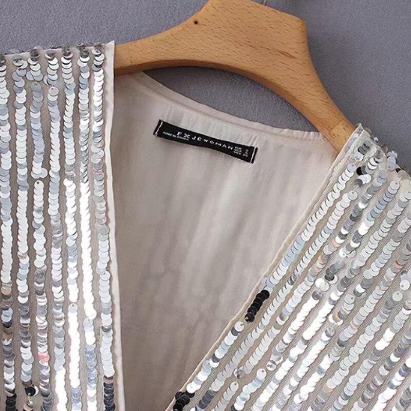 Camisas V Sueltas Lentejuelas Camisa Moda La Corta Casual Dama Bata As Blusas Pic Manga Cruz Larga Las De Mujeres Tops Cuello Decoración S3876 Tqzzw0