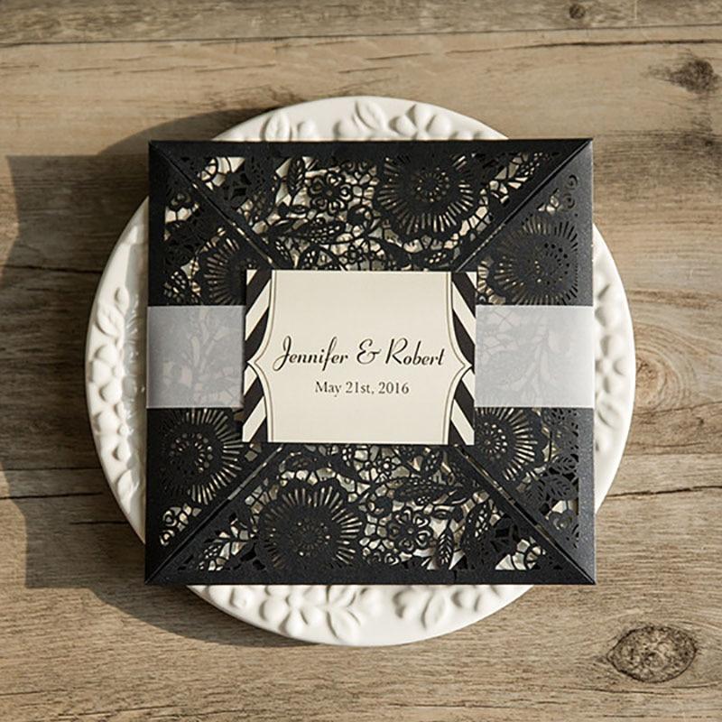 10 Set Black Wedding Invitations Custom made Transparent Band RSVP Cards Laser Cut Invitation Cards Casamento De Convite Seal