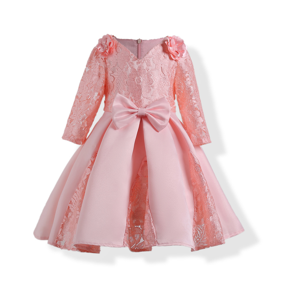 цена на Kids Girls Princess Dress for Party Fashion Long Sleeve Elegant Lace Formal Wedding Birthday Evening Dresses Children Clothes