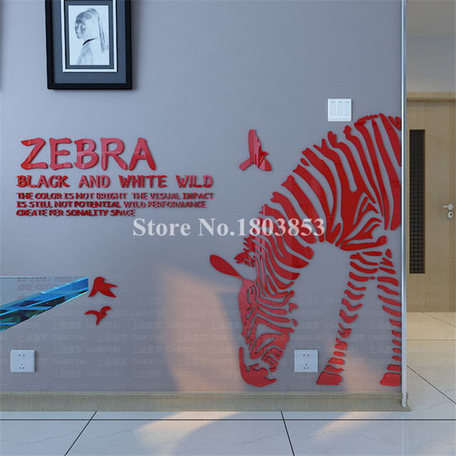 best service 58e96 6074f Zebra 3d stereo acrylic crystal hallway wall stickers living room sofa  bedroom TV backdrop Home decoration Creative 3D sticker
