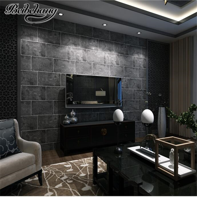 beibehang Chinese Style Retro Culture Brick Tile Non Woven Wallpaper Living Room Bedroom Background Wall Shop Renovation beibehang high end nordic mottled wallpaper retro nostalgia plain non woven wallpaper bedroom living room full shop wall paper