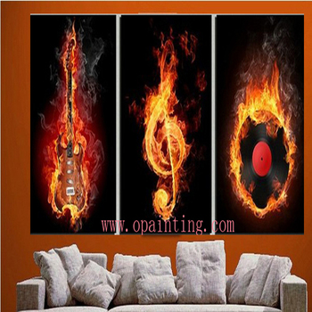 Handmade 3pcs/lot Modern Music Pictures On Canvas Fire Oil Painting No Frame Abstract For Living Room Wall Art Free Shipping