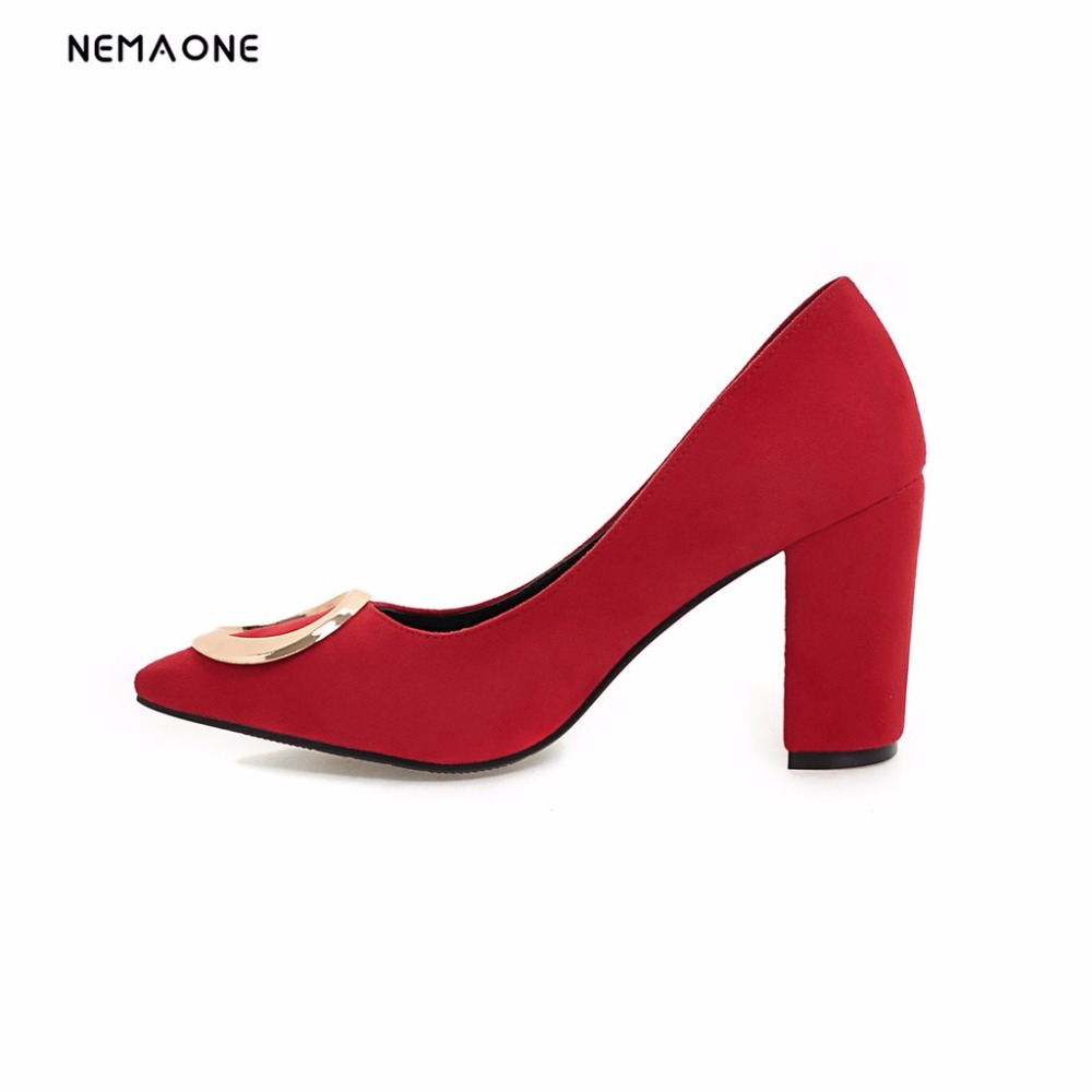 NEMAONE New Women Shoes thick High Heels shoes Platform poined Toe Satin Party Bridal Wedding women Pumps