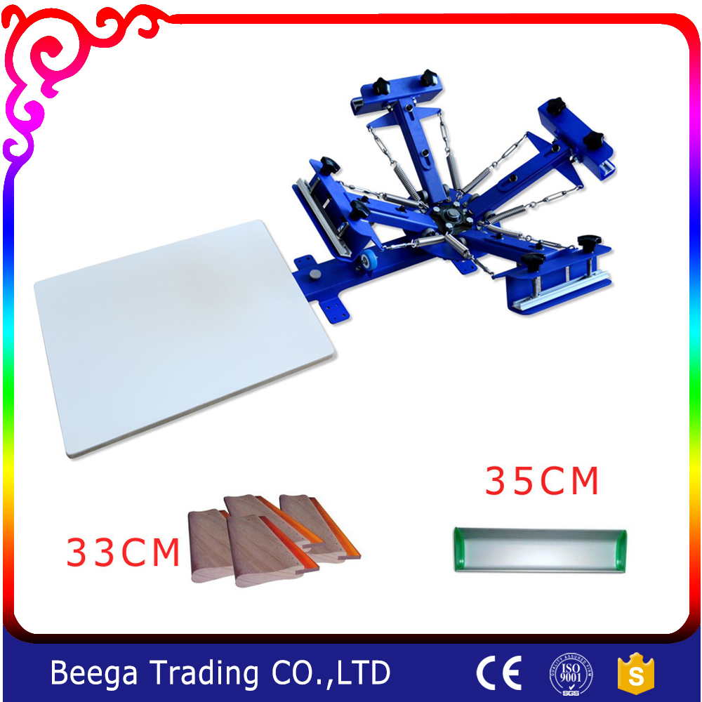 Diy printing press for 4 color 1 station screen printing equipment with some materials