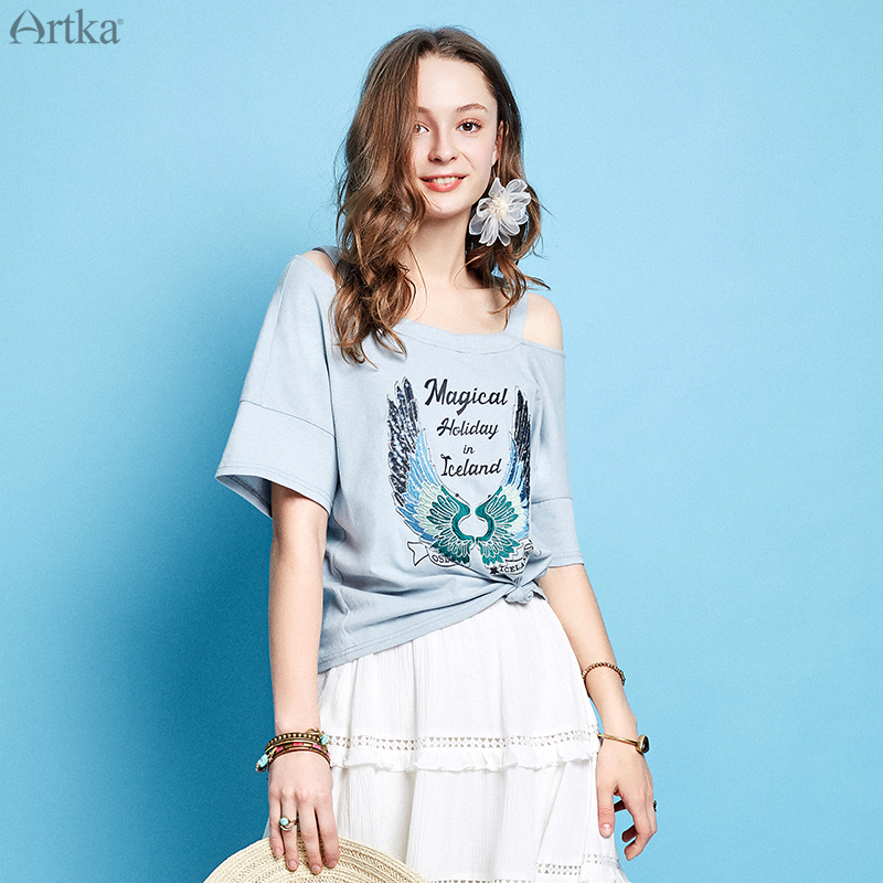 ARTKA 2019 Summer Women Cotton T Shirt Fashion Neck Design Loose Printing Letters Short Sleeve Female
