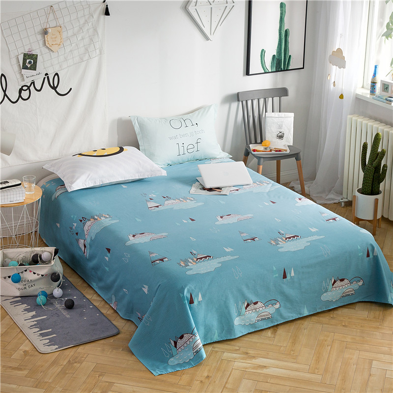 Light Blue Solid Color Cartoon Crocodile Pattern Bed Sheet Set -Pillow Case For Students Children 3PC Only 100% Cotton Soft