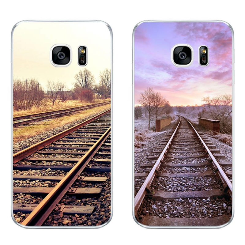 For Samsung Galaxy J3 J5 J7 2016 Phone Case S4 S6 S7 Edge Plus Shell C5 C7 Transparent Cover Soft Silicon Railway Pattern Skin