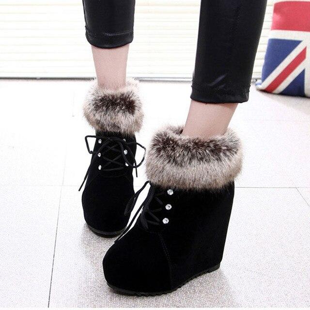 2016 Mulheres Da Moda Tornozelo Botas de Salto Alto Botas de Plataforma Cunhas Outono Inverno Ankle Boots Sapatos de Plataforma Mulheres Botas Mujer