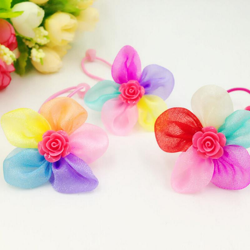 Rubber Bands Petal Flowers Bows font b Pet b font Dog Hair Bows With Bead font