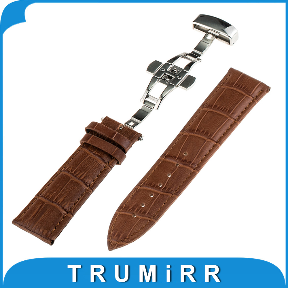 16mm 18mm 20mm 22mm 24mm Universal Croco Genuine Leather Watchband Push Button Butterfly Clasp Band Wrist Watch Strap Bracelet zlimsn genuine leather watchband bracelet 24mm 22mm 20mm thick watch strap belt with clasp wristwatch accessories band