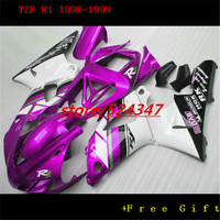 Hey Lowest price fairings set for 1998 1999 R1 white purple black body kits YZF R1 98 99 fairing kit for Yamaha