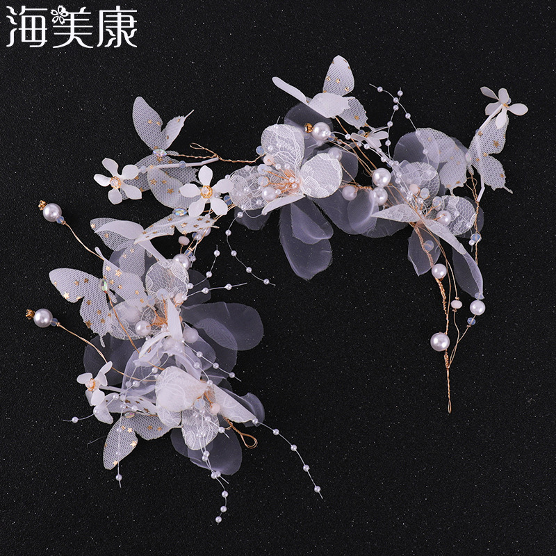 Haimeikang Fashion Bridal Hair Accessories Butterfly Pearl Headband Hair Band Women's Handmade 2019 New Wedding Jewelry