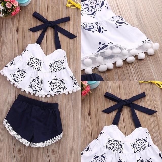 Puseky 2 piezas conjunto de ropa de bebé recién nacido 2017 verano lindo Bebes sin mangas borla Crop Top chaleco + Shorts inferior traje