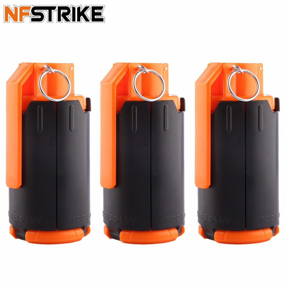 NFstrike 3pcs Tactical Plastic Modified Crystal Water Beads Bomb Crystal Water Bullet Bomb Replacement Black Orange