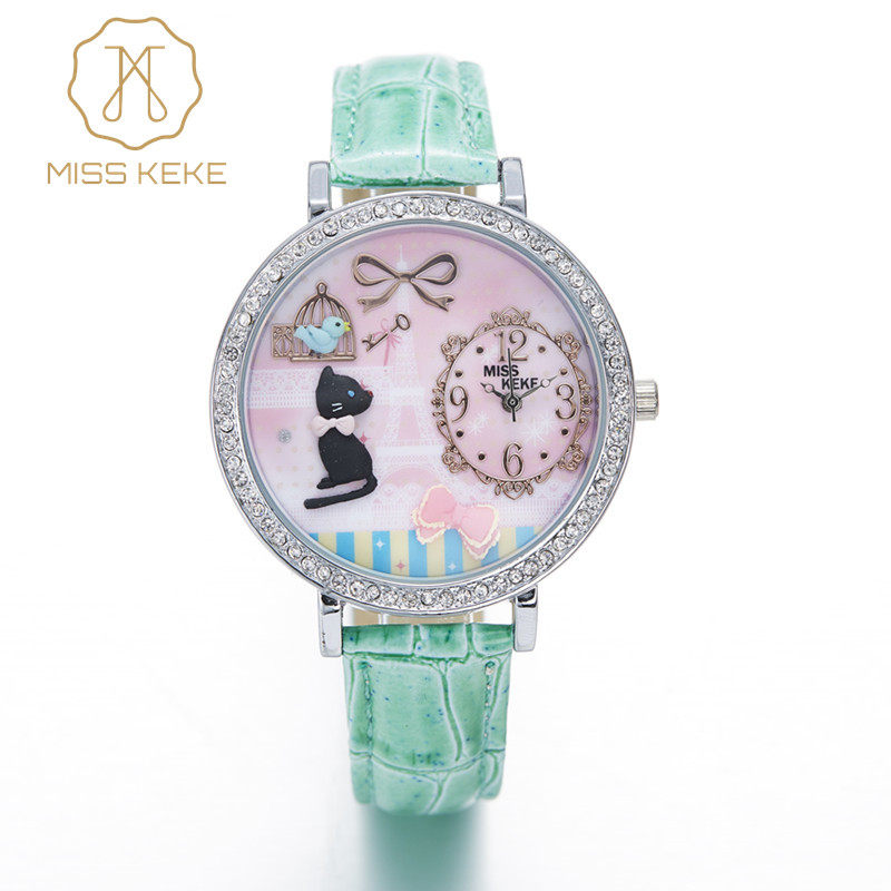 MISS KEKE 3D clay cute mini world golden retriever Rhinestone watches Relogio Feminino Ladies Women leather Wristwatches 1059
