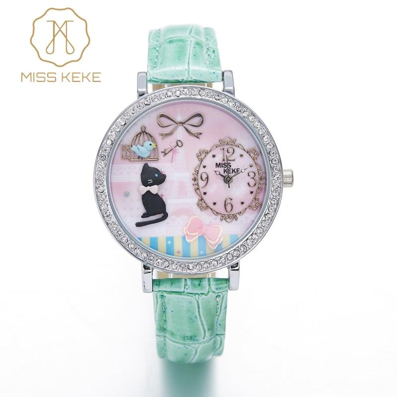 MISS KEKE 3D Clay Cute Mini World Golden Retriever Rhinestone Watches Relogio Feminino Ladies Women Leather Wristwatches 1059