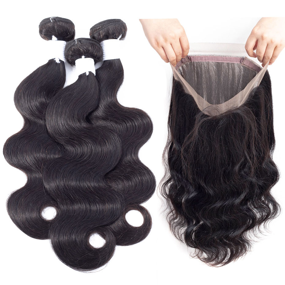 Clover Leaf Body Wave Hair Bundles With Lace Frontal 360 Natural Black Pre-plucked Hair 100% Peruvian Remy Human Hair 10-28inch