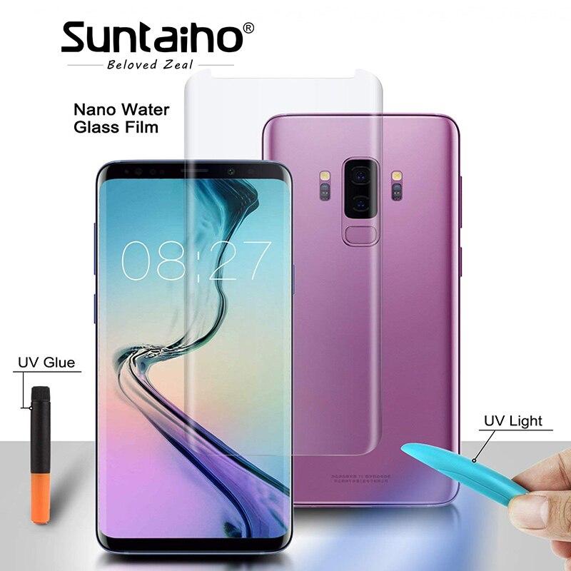 Suntaiho UV Liquide plein Colle entièrement adsorbé En Verre Trempé pour Samsung note9 note8 Galaxy S9 S8plus Nano UV Écran Protecteur