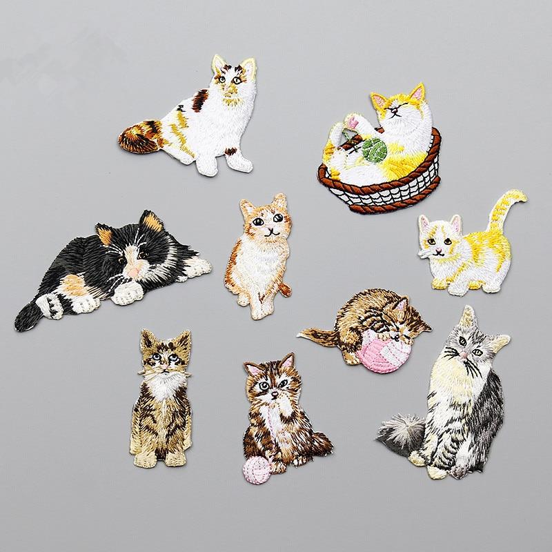 Cartoon broderade söta kattplåster för klänningshattväska - Konst, hantverk och sömnad