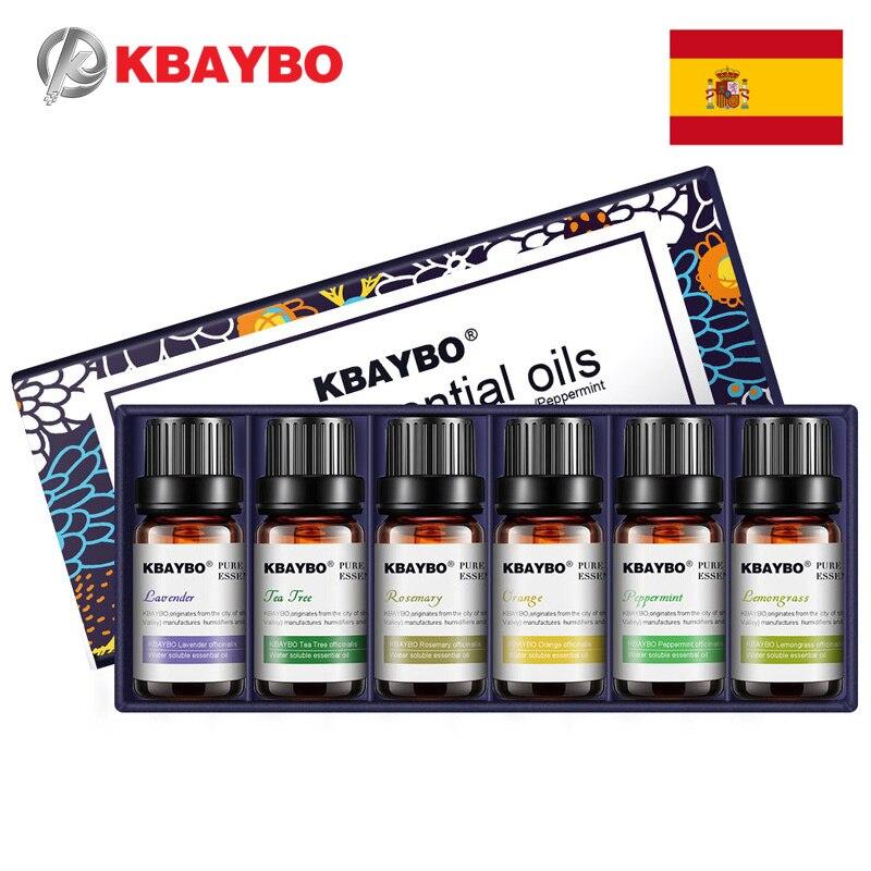 Ätherisches Öl für Diffusor, aromatherapie Öl Luftbefeuchter 6 Arten Duft von Lavendel, Teebaum, rosmarin, zitronengras, Orange