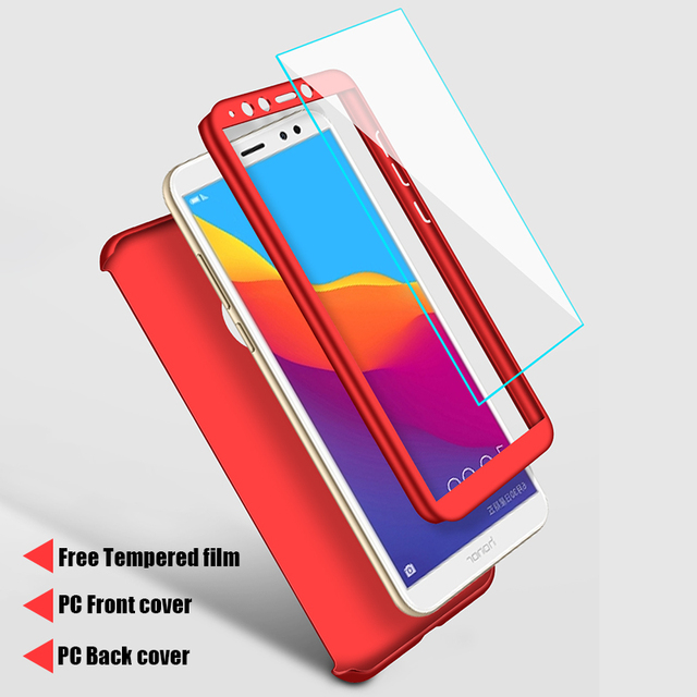 Luxury 360 Full Cover Phone Case For Huawei Honor 8 Lite Case For Honor 7C 7A Pro Case With Tempered Glass For Honor 8X Max Case
