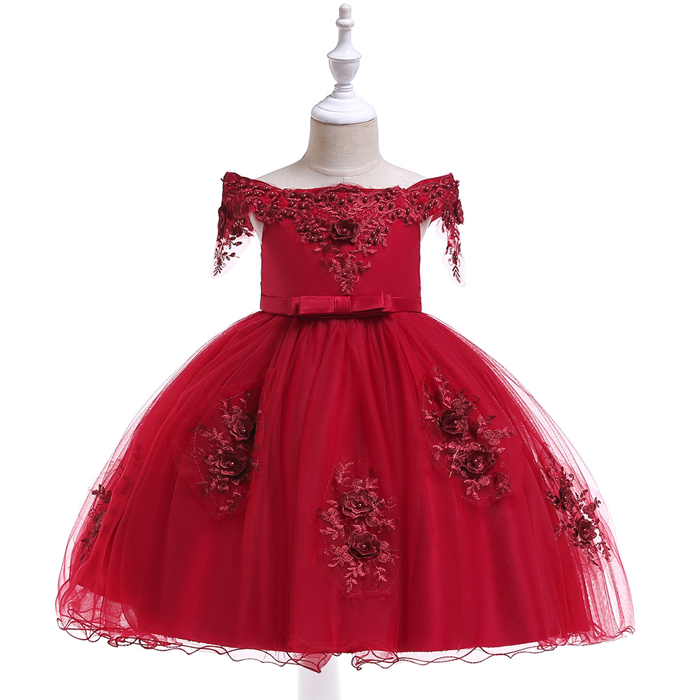 A-Line Cap Sleeves Red   Flower     Girl     Dresses   with Pearls Lace First Communion   dresses   2019 Party Gowns