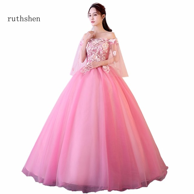 ruthshen Stunning Vestidos Quinceanera Dresses Warming Pink Color Ball Gowns  With Flowers Sweet 15 Girls Party Dress 2018 d30f70f77b65