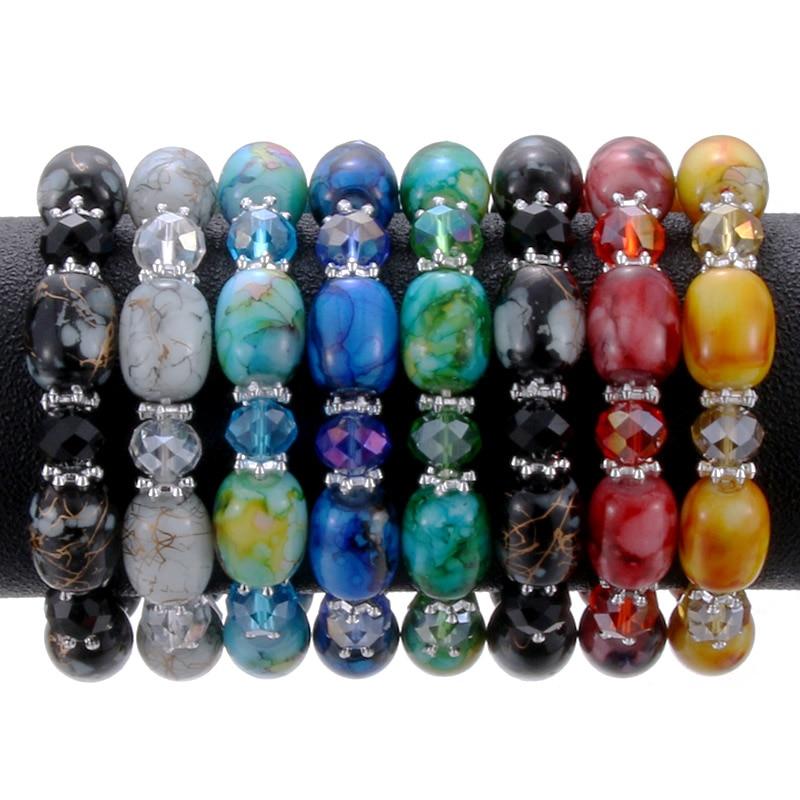 Moda amazonita pedra natural streche pulseira elástica pulserase homens moda jóias contas criado encantos diy