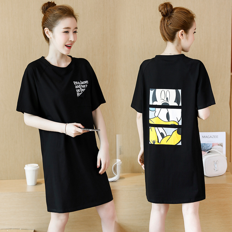 New Summer Womens Casual Wear Maternity Clothing 2018 Fashion Cartoon Printed Long Knitted Dress Black Simple Pregnancy Dresses
