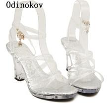 Fashion Summer Open Toe High Heel Platform Sandals Lace-Up Bow Buckle Sexy Wedding Shoes 12CM Women High Heel Women Pumps 0959