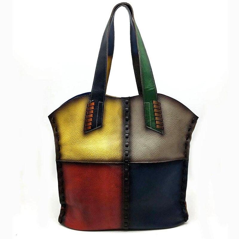 Random Color Vintage Genuine Leather Handbags Women Large Totes Female Bolsa Feminina Shoulder Bags Lady