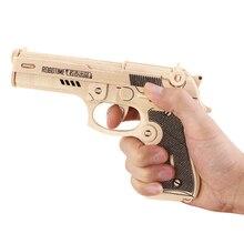 Новинка 3D DIY деревянный Игрушечные лошадки пистолет револьвер Деревянные Головоломки ремесло Строительство Kit pistoln для детей образования и обучения