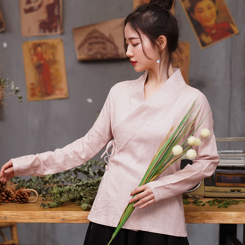 Chinesetraditional Style Women Cotton Linen Shirt Blouse Vintage Ladys Solid  Tops Oriental Hanfu Stage Show Clothing M L XL