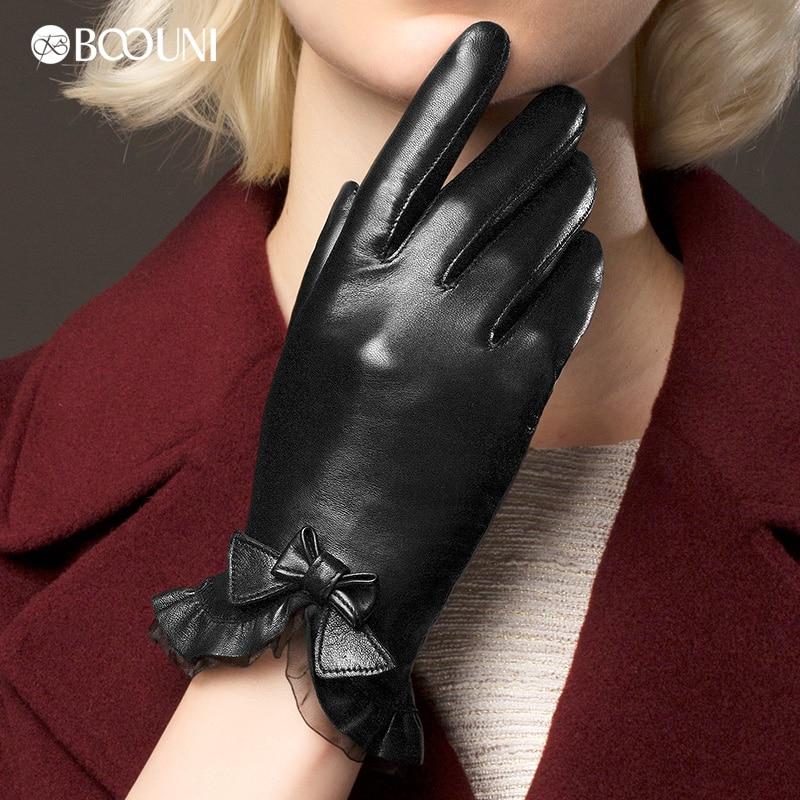 Echte Lederhandschuhe Damenmode Rotbraun Kurz Winter Plus Samt - Bekleidungszubehör - Foto 1