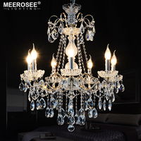 Modern Crystals Chandeliers Light K9 Clear Crystal 7 Heads vintage Hanging Lamp Fixture For Kitchen bedroom Indoor Lighting