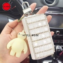 Cute Leather Key Case Cover with Diamond Key Ring Wallet Holder Bag Organizer for Girl Woment Car Interior Accessories