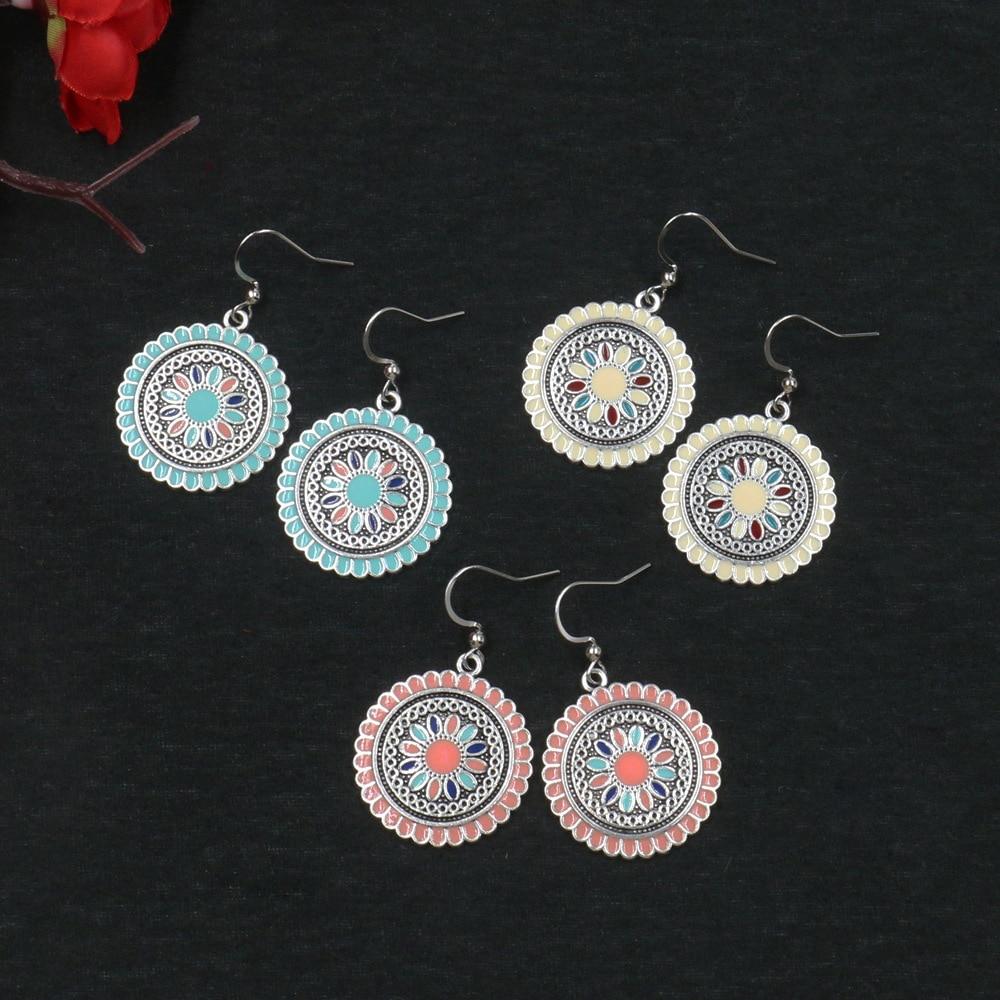 Bohemia Vintage Zinc Alloy Silver Multi Color Hook Flowers Elegant Hanging Drop Dangle Earrings for Women in Drop Earrings from Jewelry Accessories