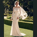 2015 Hot Sale Lace Mermaid Wedding Dresses Boat Neck Bridal Gown Vestido de noiva Sexy Long Sleeve Vestido De Novia with veil