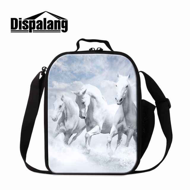 Dispalang stylish kids lunch bag white horse cooler lunch box for children school insulated lunch containers portable picnic bag