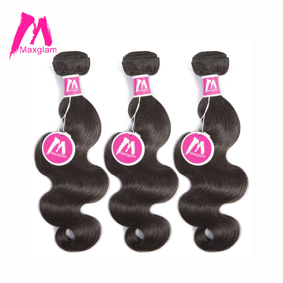 Maxglam Brazilian Body Wave 3 Human Hair Bundles Remy Hair Weave Bundles Natural Color Hair Extension