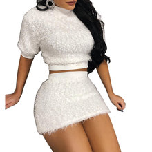 Women Faux Fur Knit 2 Pieces Set Sweater Crop Top And Mini Skirt Turtleneck Knitted Top Sheath Bodycon Party Clubwear  Outfit marled knit crop top with split skirt