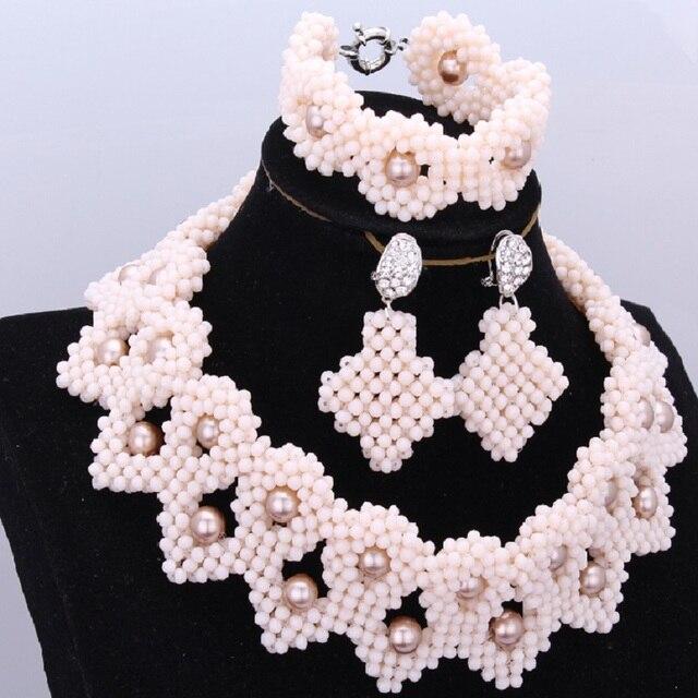 African Beads Jewelry Set Nigerian Wedding African Beads Beige Plant Crystal Necklace Set 100% Handmade Bridal Jewelry Set 2018