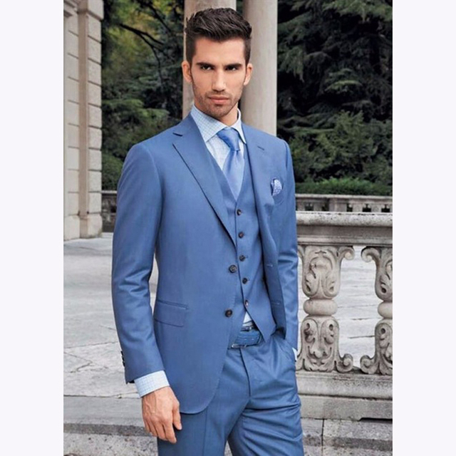 Excellence blue Mens Dinner Party Prom Suits Groom Tuxedos 2017 ...