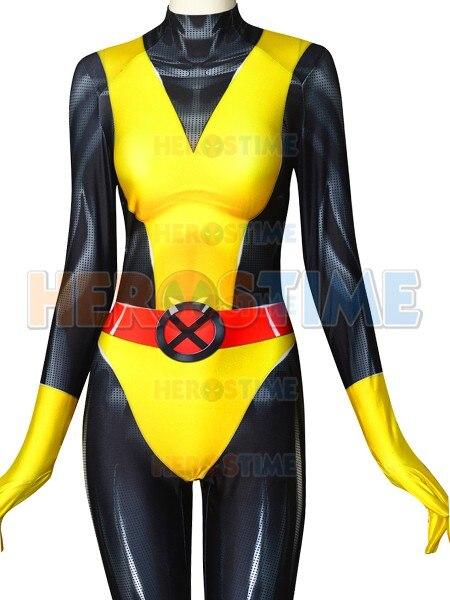 2019 Kitty Pryde X-men Superhero Costume X-men 3D Print Spandex Zentai Bodysuit Halloween Costume for Woman/Kids