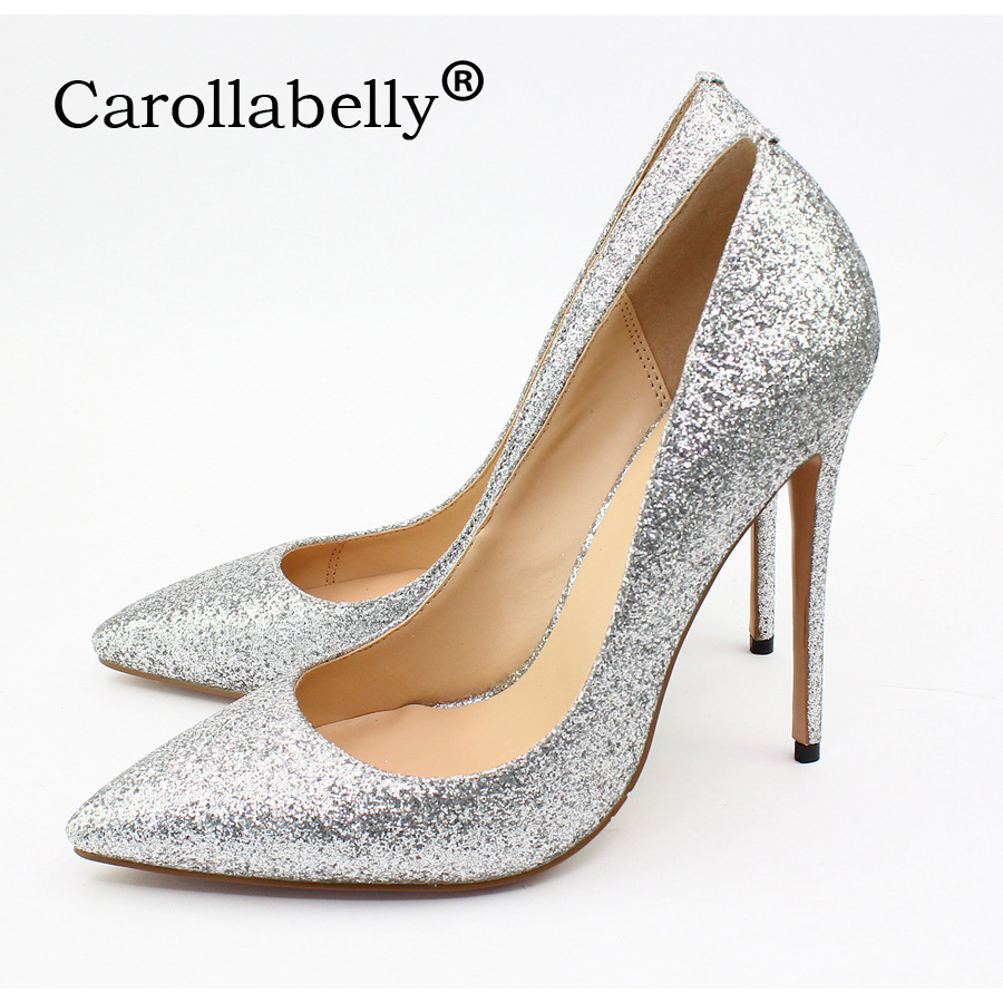 Carollabelly Sexy Glitter Brand Women Shoes 12cm High Heel Pumps Pointed Toe Wedding Bridal Shoes Party Shoes Big Size 34-46 sequined high heel stilettos wedding bridal pumps shoes womens pointed toe 12cm high heel slip on sequins wedding shoes pumps