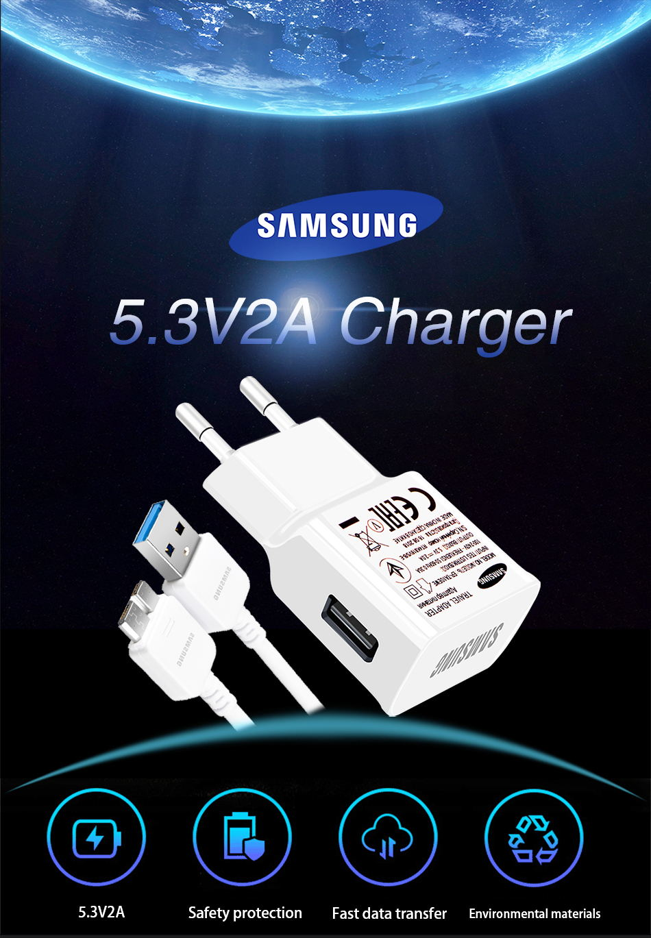 1Samsung Original Travel Charger for Samsung Galaxy S5 Note 3 Phone Charger 5.3 V & 2.0A EU US 1 m 3.0 USB Micro cable_