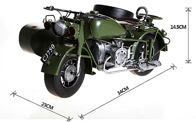 CJK750 Ural Motorcycle Model, Retro Style Motorcycle Models Ural M72 KC750 K750 Motorcycle Parts Size 34 * 23 * 14.5CM
