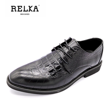 RELKA High Quality Men Luxury Leather Shoes Vintage Genuine Fashion Pointed Toe Thick Heel Solid Lace-up Basic Shoe N39