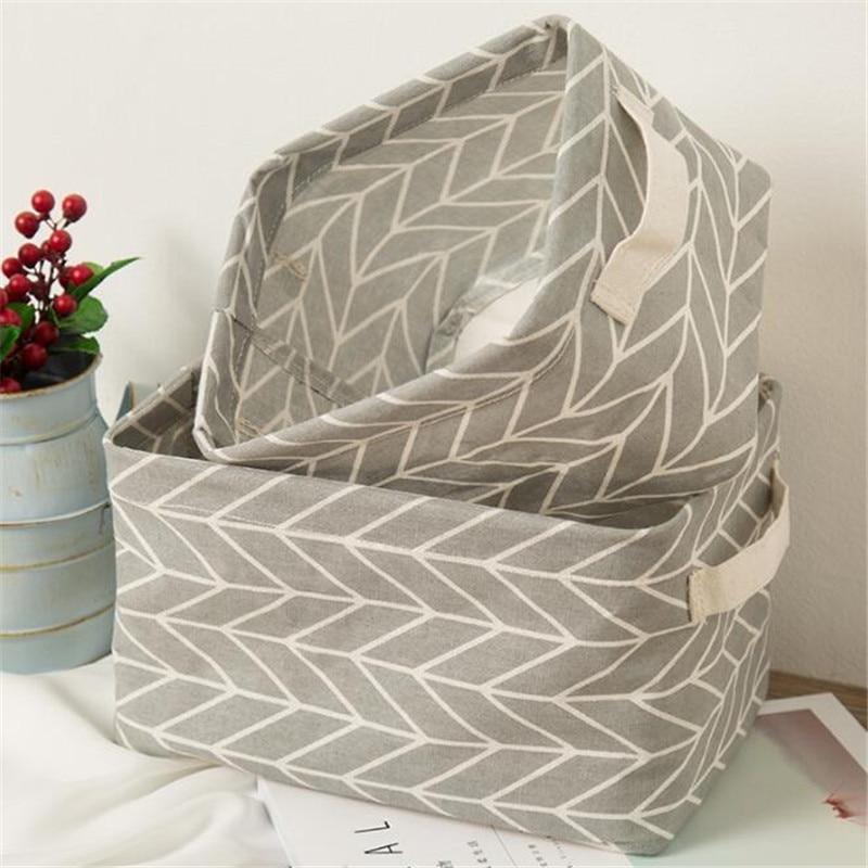 Underwear Storage Basket Organizer Cabinet Linen Printing Cotton Cartoon Sundries 1-Pc