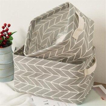 1 Pc Printing Cotton Linen Desktop Storage Organizer Sundries Storage Box Cabinet Underwear Storage Basket cartoon
